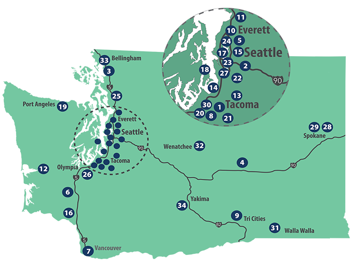 Image of Washington state, with Community College locations numbered